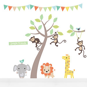 Pastel Jungle Animal Fabric Wall Stickers - children's decorative accessories
