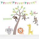 Pastel Jungle Animal Fabric Wall Stickers