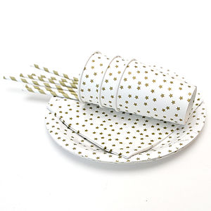 Gold Star Paper Party Tableware Set