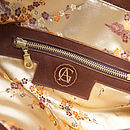 Jamie Leather Tote Bag: Gold Brocade Lining
