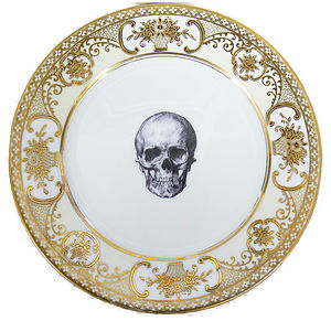 Upcycled Skull Design Gold Salad Plate - tableware