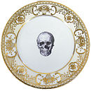Upcycled Skull Design Gold Salad Plate