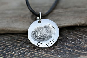 Fingerprint Coin Mens Chain