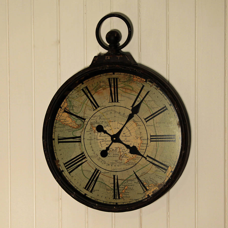 antique style pocket watch large wall clock by jones and
