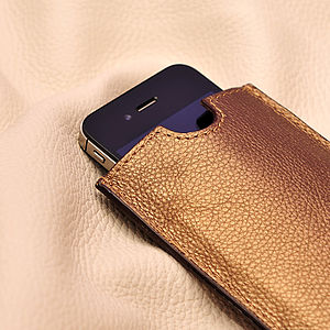Leather Bronze Phone Case - tech accessories for her