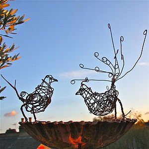 Rusted Curly Tailed Wire Bird - art & decorations
