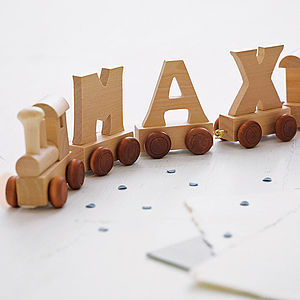 Personalised Wooden Name Train - christening gifts