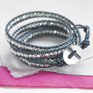 Metallic Leather Wrap Bracelet - women's jewellery