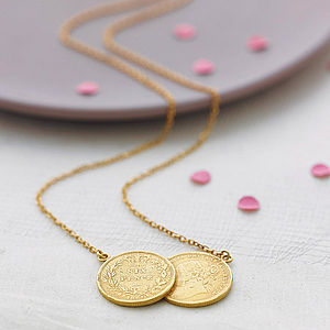 Double Sixpence Necklace - mother's day gifts