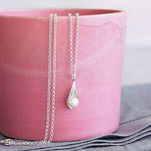 Calla Lily Pearl Pendant - wedding jewellery