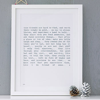 Friendship Poem Art Print
