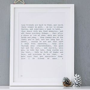 Friendship Poem Art Print - gifts under £25