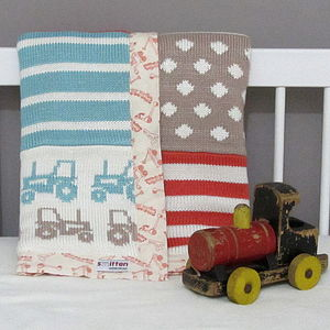 Tractor Knitted Baby Blanket