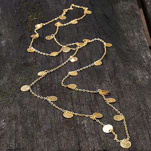 Hammered Gold Disc Long Layering Necklace - women's jewellery