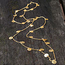 Hammered Gold Disc Long Layering Necklace