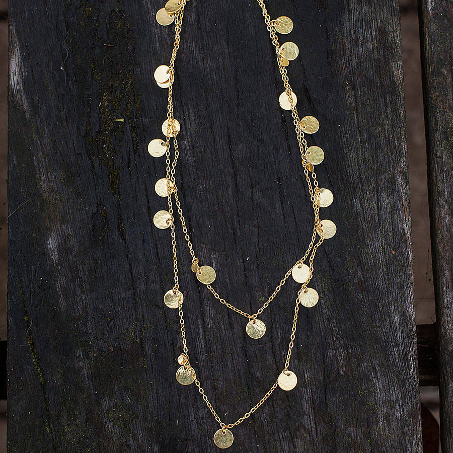 Hammered Gold Disc Long Layering Necklace By Rochelle