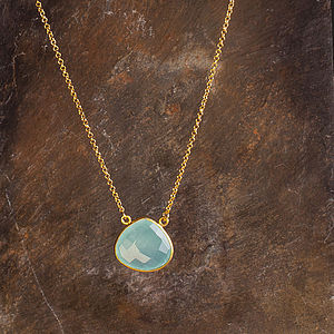 Aquamarine Chalcedony Heartshaped Pendant - necklaces & pendants