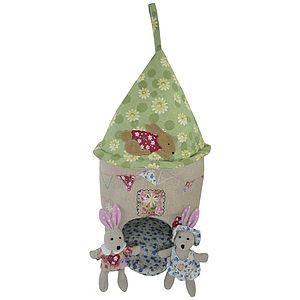 Fabric Rabbit House And Rabbits - pretend play & dressing up