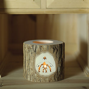 Log Votive With Nativity Scene - christmas lights