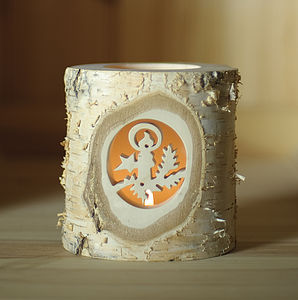 Log Votive With Candle Design - christmas lights