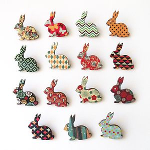 Patterned Bunny Brooch - winter sale