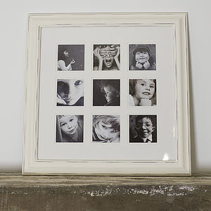Multiframe Distressed Nine Picture Frame - picture frames