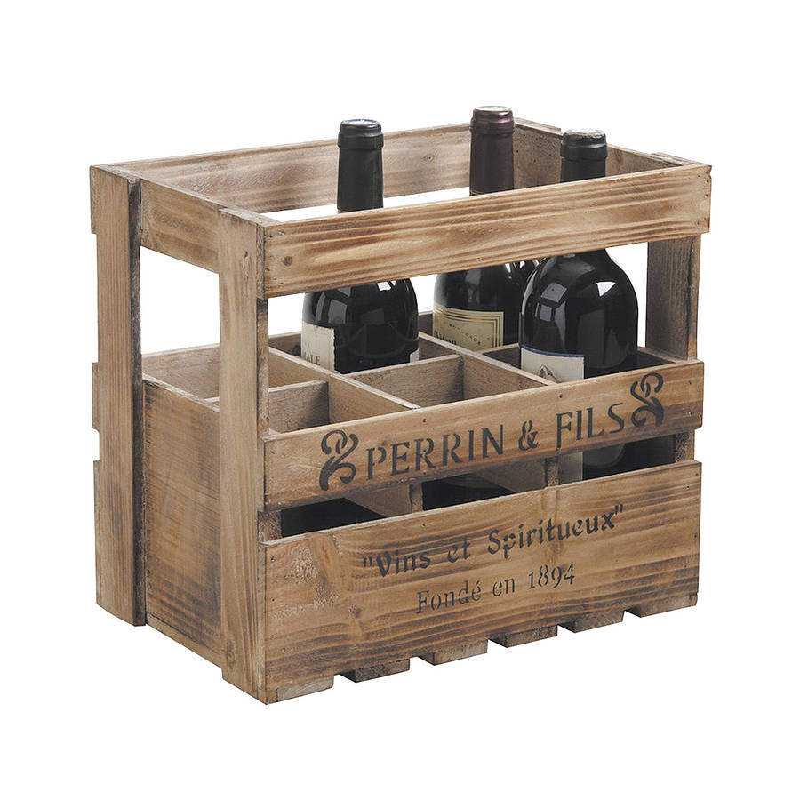 Wooden Six Wine Bottle Storage Crate By Dibor