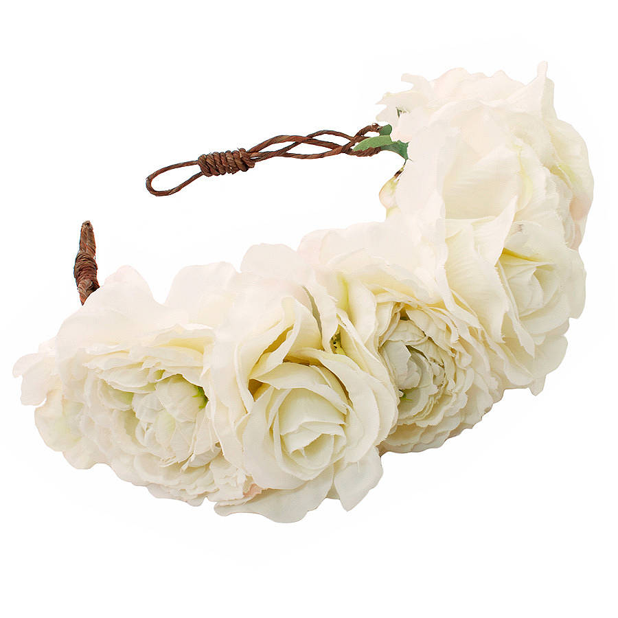 Martha White Rose Floral Crown Headband By Rock N Rose