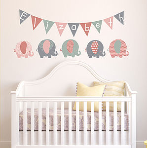 Pastel Elephant Children's Wall Stickers - bedroom