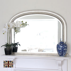 Small Silver Plain Beaded Overmantel Mirror