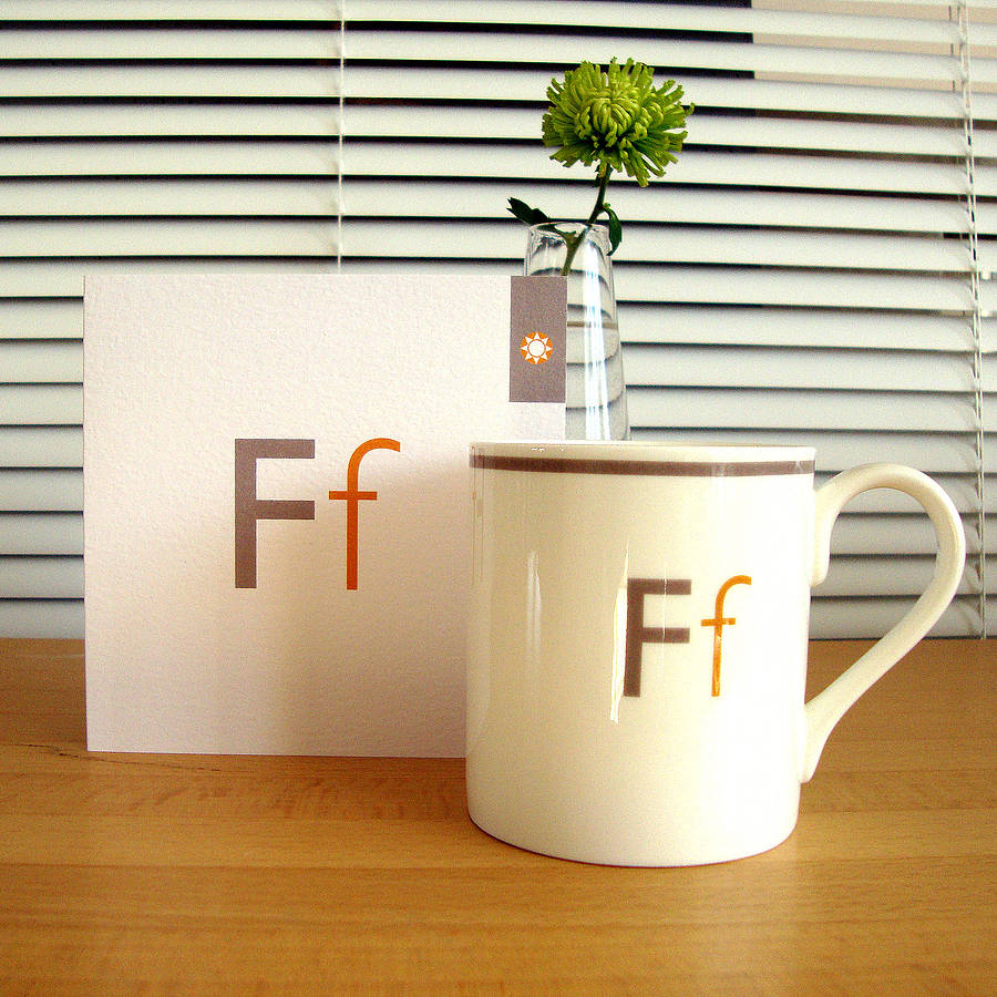 letter mug f and matching card