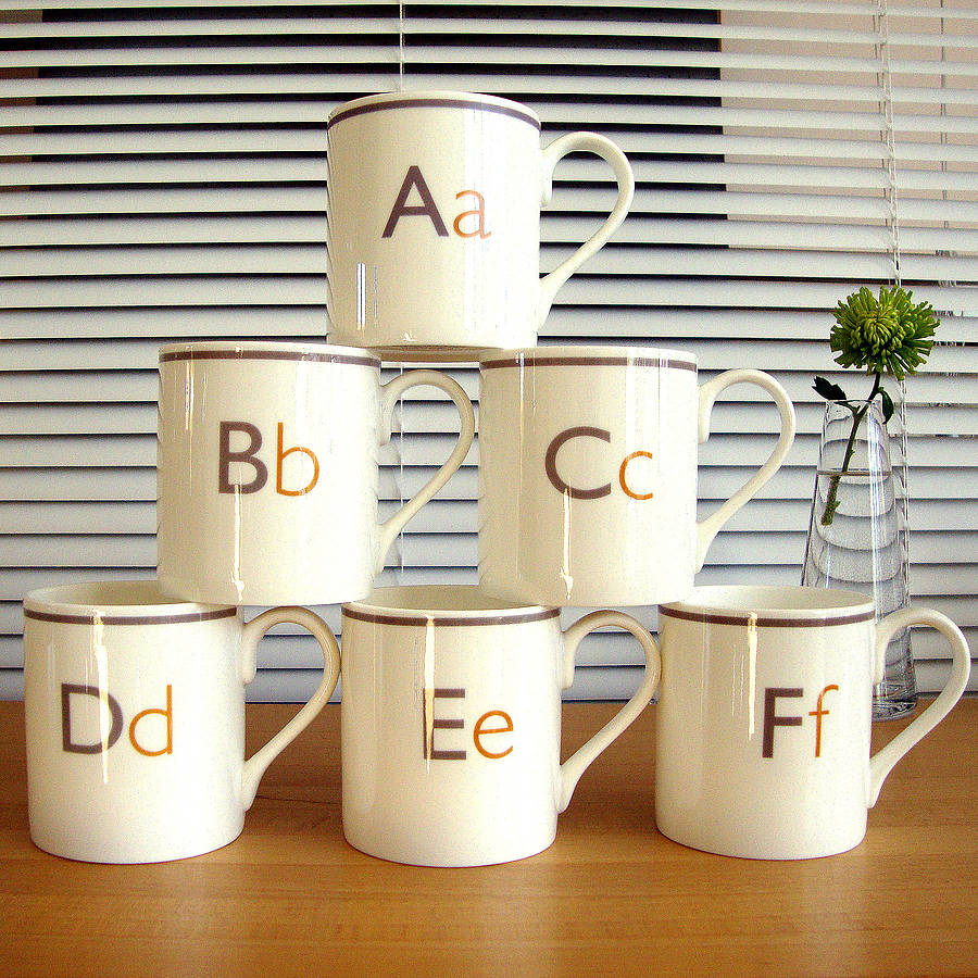 letter mugs a b c d e and f