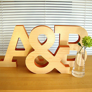 Large Decorative Wooden Letter Sculpture