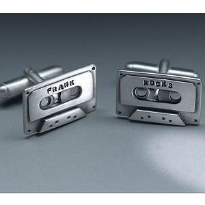 Personalised Silver Cassette Tape Cufflinks - music-lover