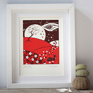 Plum Blossom Springtime Deer Limited Screenprint