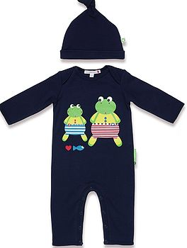 Frog Baby Romper And Hat