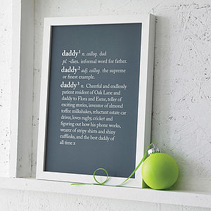 Personalised Dad Or Daddy Dictionary Print - posters & prints