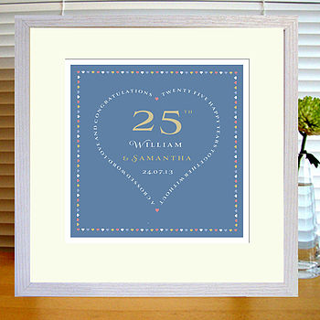 slate blue print with mount & white frame