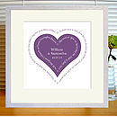 dark mauve heart print with mount & white frame