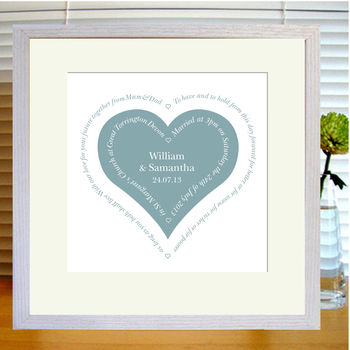 silver grey heart print with mount & white frame