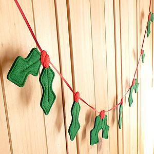 Handmade Felt Christmas Holly Garland