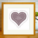 musk red heart print with mount & oak frame