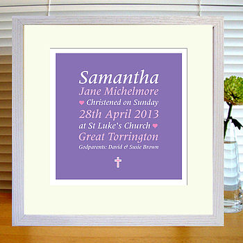 purple & pink christening print with mount & white frame
