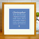 blue & red baptism print with mount & oak frame
