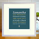 dark blue & gold christening print with mount & white frame
