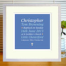 blue & red baptism print with mount & white frame
