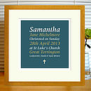 dark blue & gold christening print with mount & oak frame