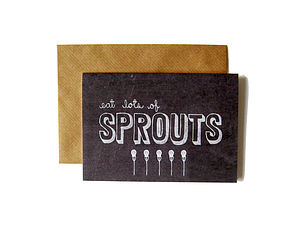 'Eat Lots Of Sprouts' Chalkboard Card - cards