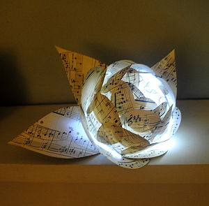 Music Paper Rose Flower Light Centrepiece LED Light - candles & candlesticks