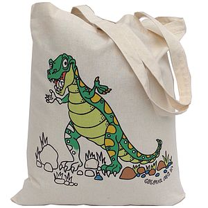 Colour In T Rex Tote Bag - bags, purses & wallets